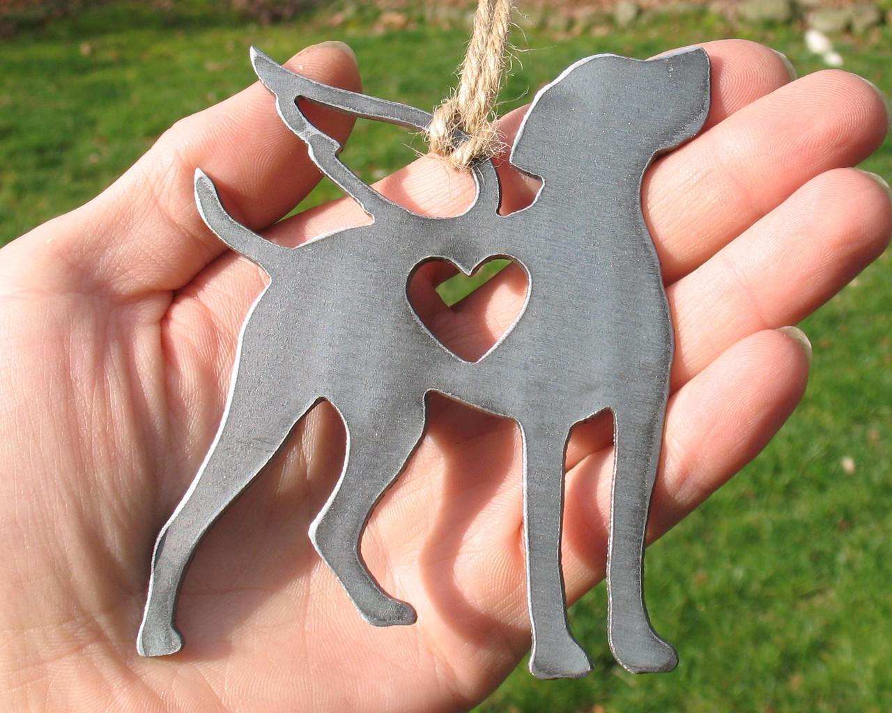 Vizsla Dog Ornament Pet Memorial W/ Angel Wings - Pet Loss Dog Sympathy Remembrance Gift - Metal Dog Christmas Ornament