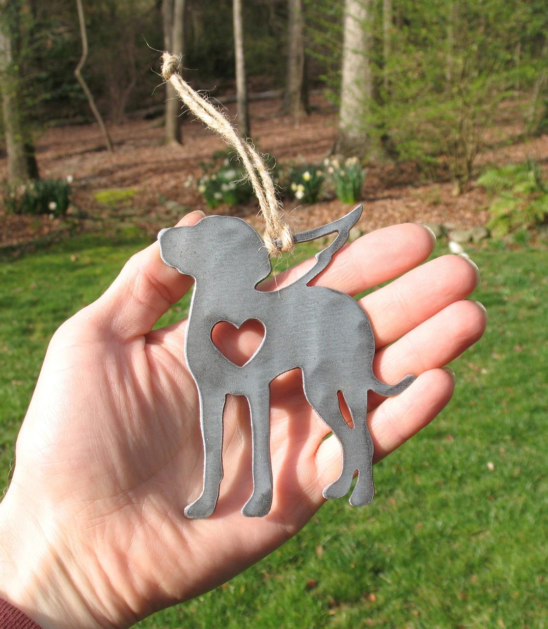 Weimaraner Dog Ornament 2 Pet Memorial W/ Angel Wings - Pet Loss Dog Sympathy Remembrance Gift - Metal Dog Christmas Ornament