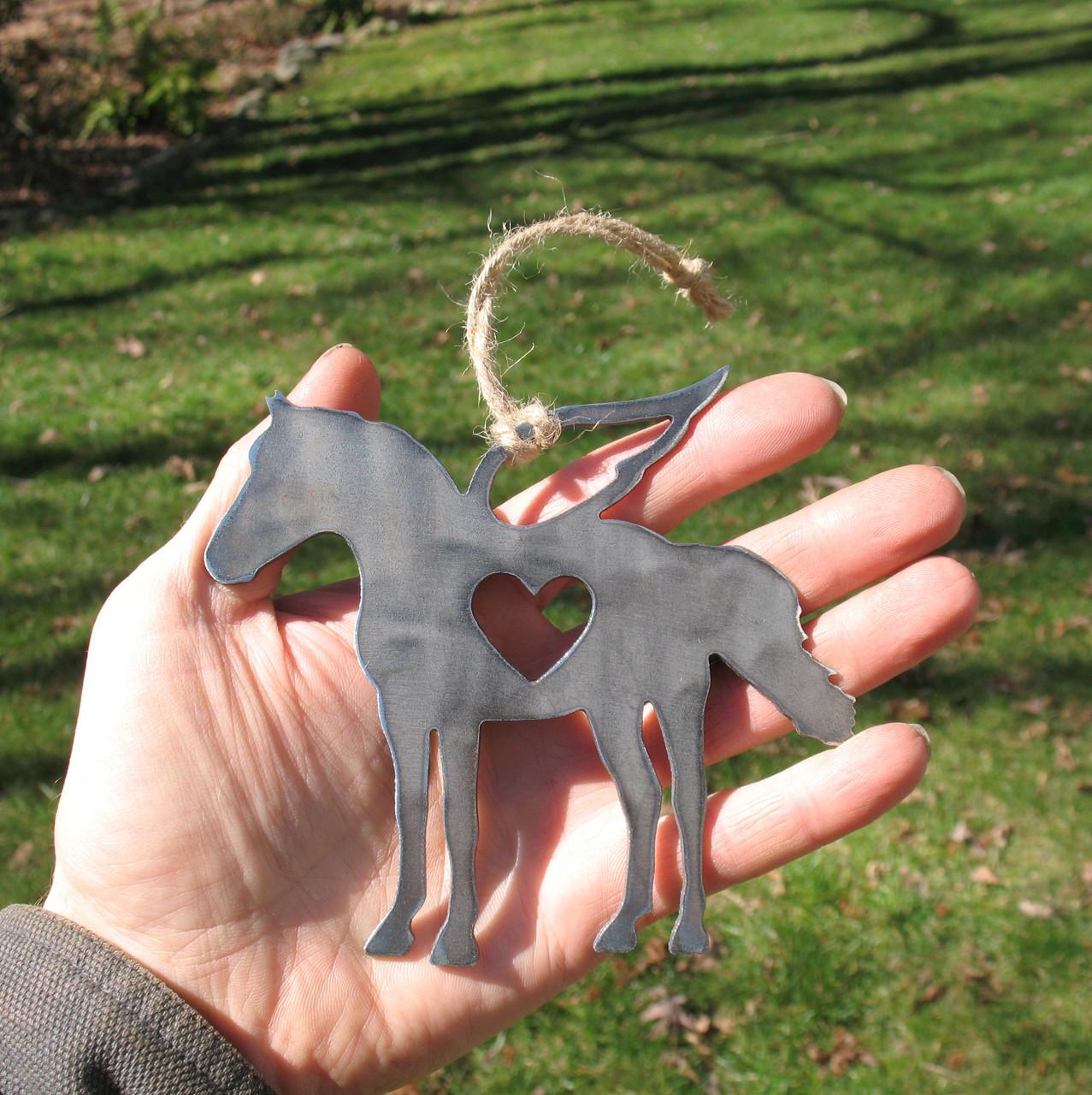 Horse Ornament Pet Memorial W/ Angel Wings - Pet Loss Sympathy Remembrance Gift - Metal Horse Christmas Ornament