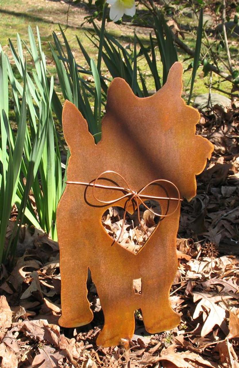 Yorkshire Terrier Dog Metal Garden Stake - Metal Yard Art - Metal Garden Art - Pet Memorial