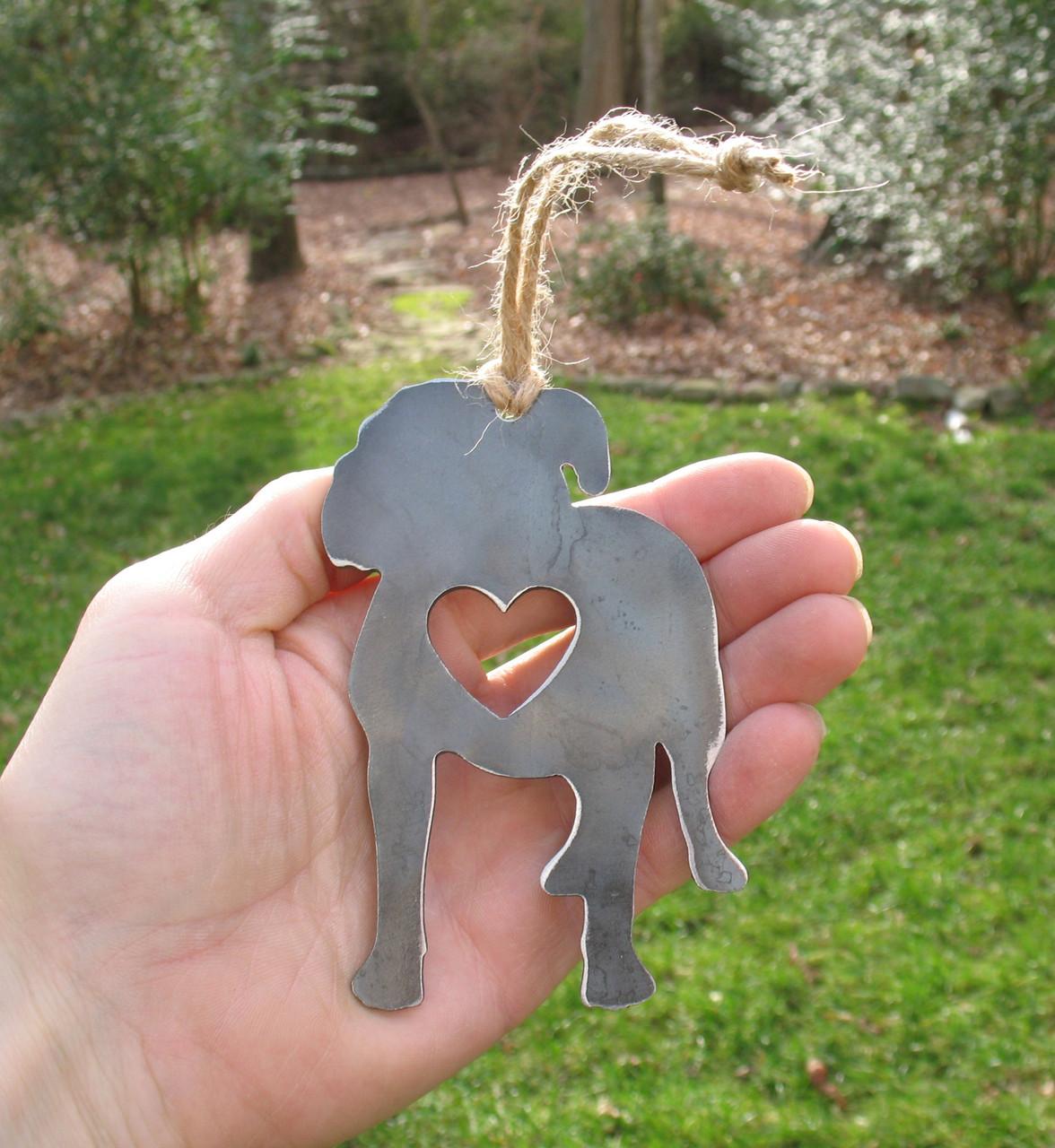 American Bulldog Dog Ornament - Metal Dog Christmas Ornament - Pet Lover Memorial Ornament - Pet Loss Dog Memorial Ornament Remembrance Gift