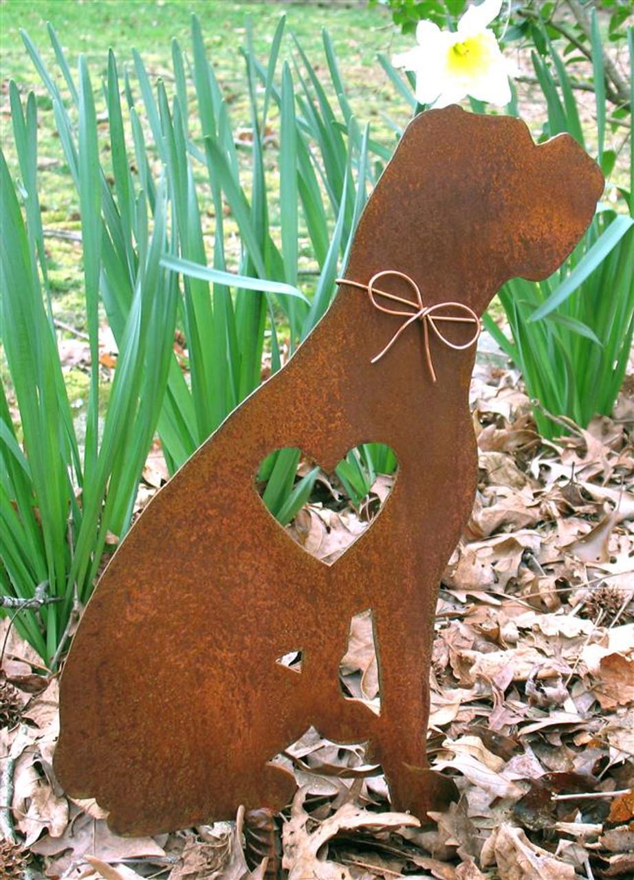 Boxer Dog Metal Garden Stake - Metal Yard Art - Metal Garden Art - Pet Memorial