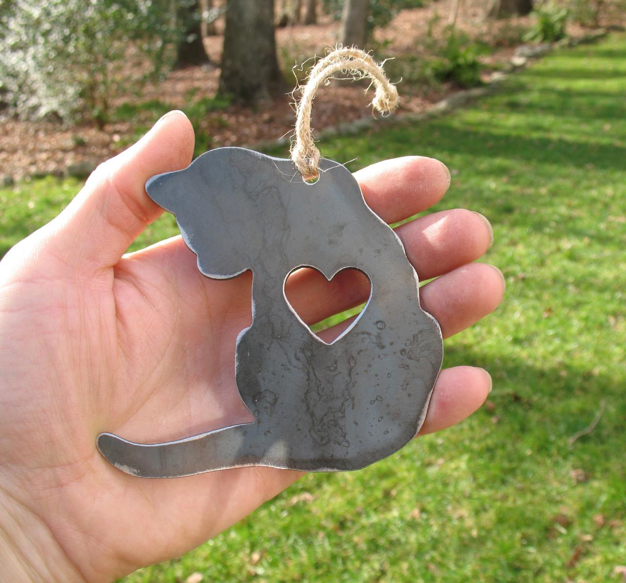 Cat 2 Ornament Rustic Raw Steel Easter Basket Gift for Her Him - Metal Pet Memorial Gift - Cat Lover Gift