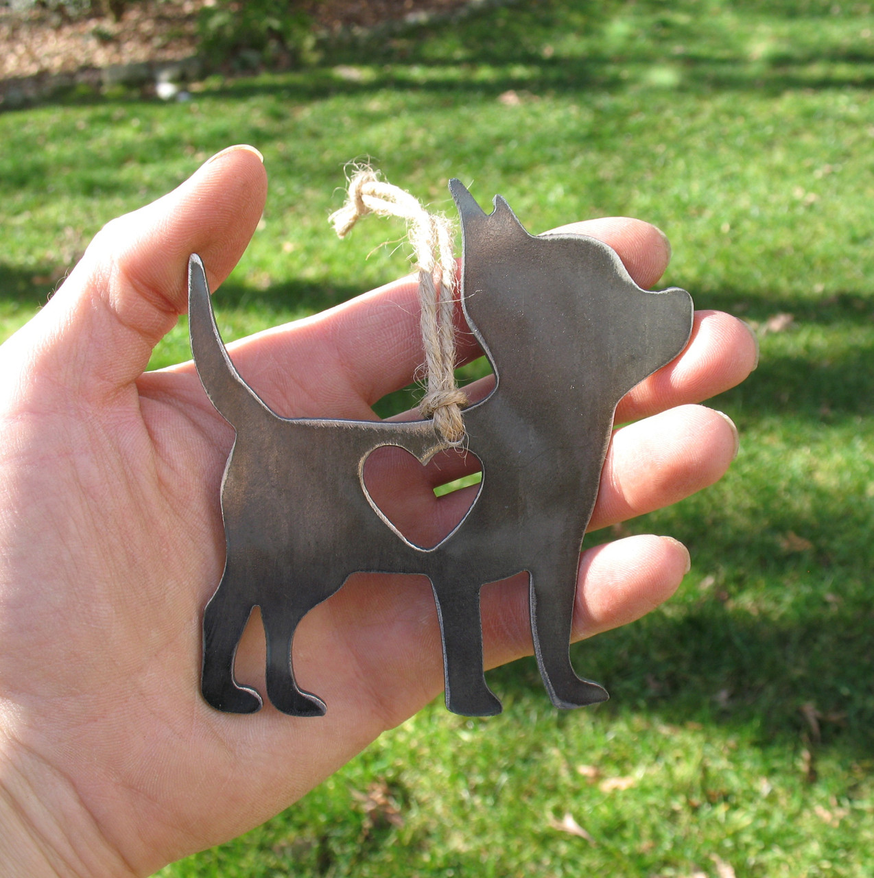Chihuahua Dog Ornament 2 - Metal Dog Easter Basket Gift for Her Him - Pet Lover Ornament - Pet Loss Dog Memorial Ornament Remembrance Gift