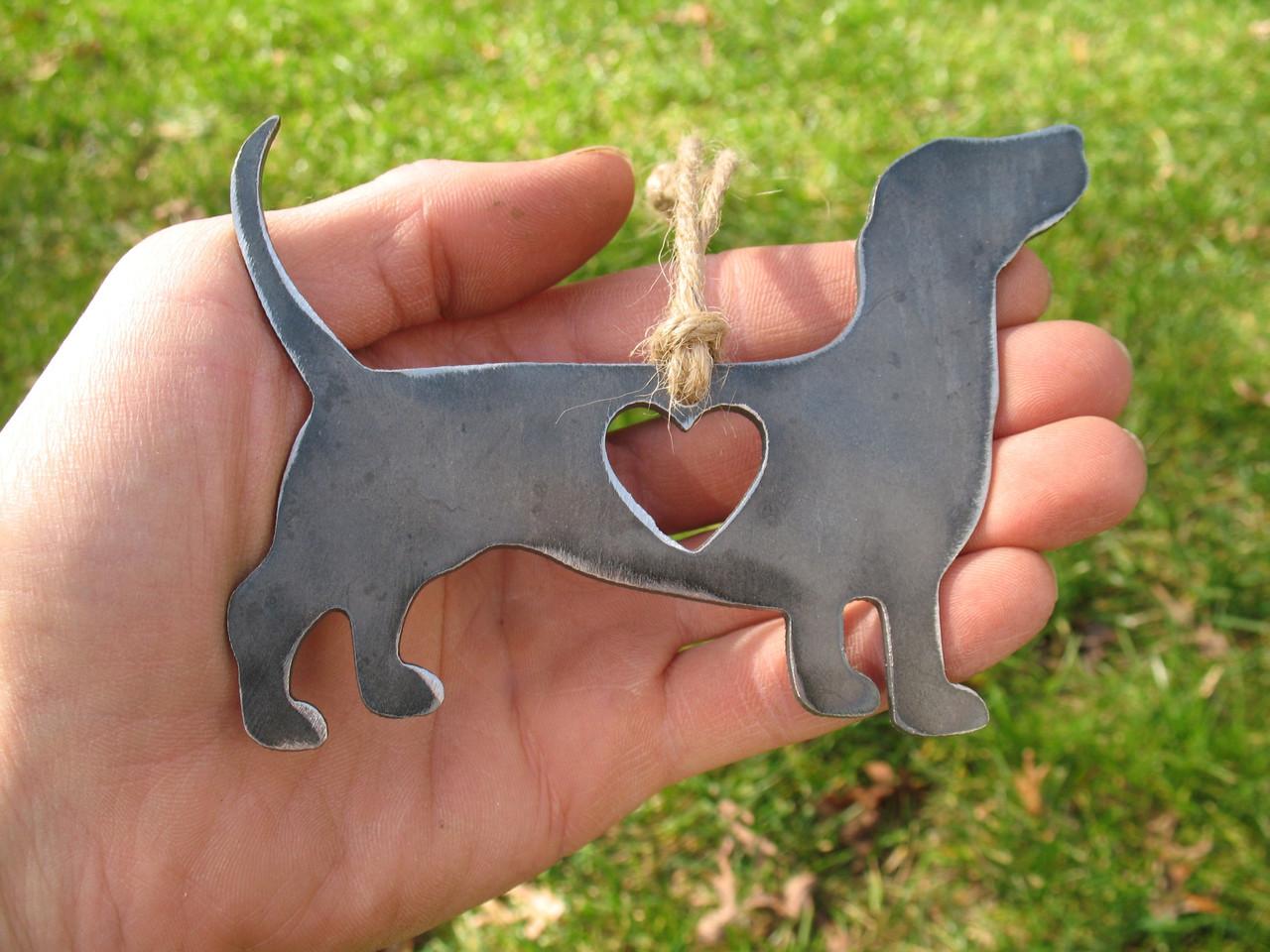 Dachshund Dog Ornament 1 - Metal Dog Easter Basket Gift for Her Him - Pet Lover Ornament - Pet Loss Dog Memorial Ornament Remembrance Gift