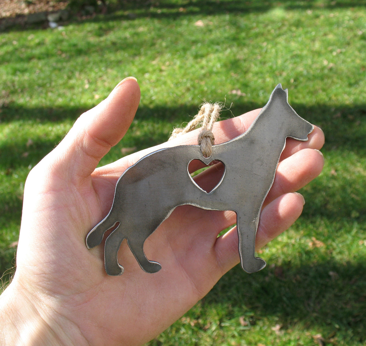 German Shepherd Dog Ornament 1 - Metal Dog Easter Basket Gift for Her Him- Pet Lover Memorial Ornament Pet Loss Dog Remembrance Gift