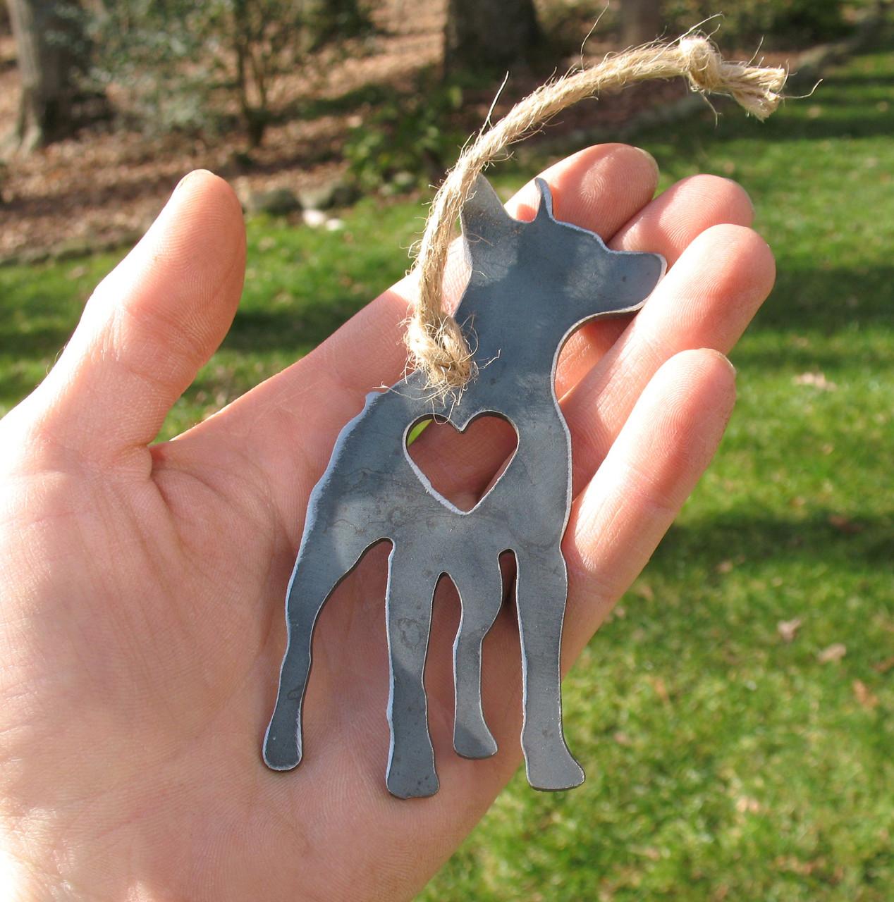 Miniature Pinscher Dog Ornament - Metal Dog Christmas Ornament - Pet Lover Memorial Ornament Pet Loss Dog Memorial Ornament Remembrance Gift