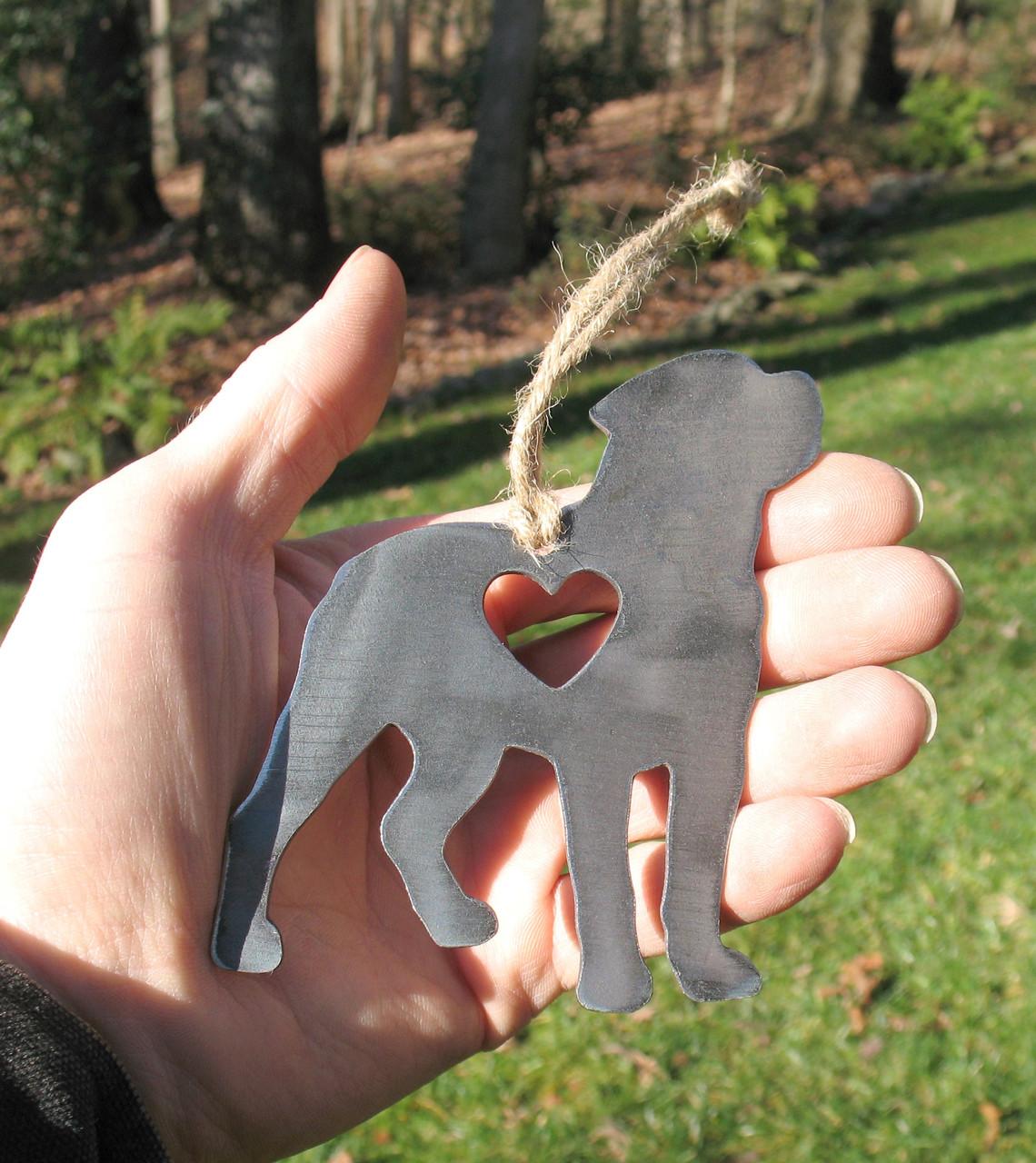 Rottweiler Dog Ornament 1 - Metal Dog Easter Basket Gift for Her Him - Pet Lover Memorial Ornament - Pet Loss Dog Memorial Remembrance Gift