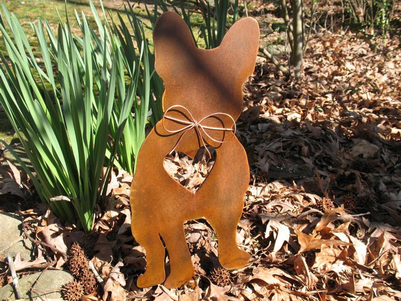 French Bulldog Dog Metal Garden Stake - Metal Yard Art - Metal Garden Art - Pet Memorial