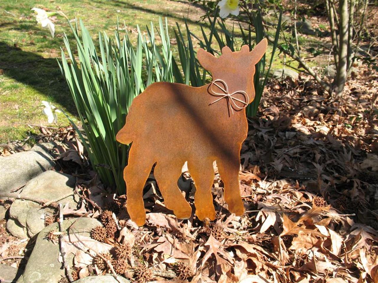 Goat Metal Garden Stake - Metal Yard Art - Metal Garden Art - Rusty