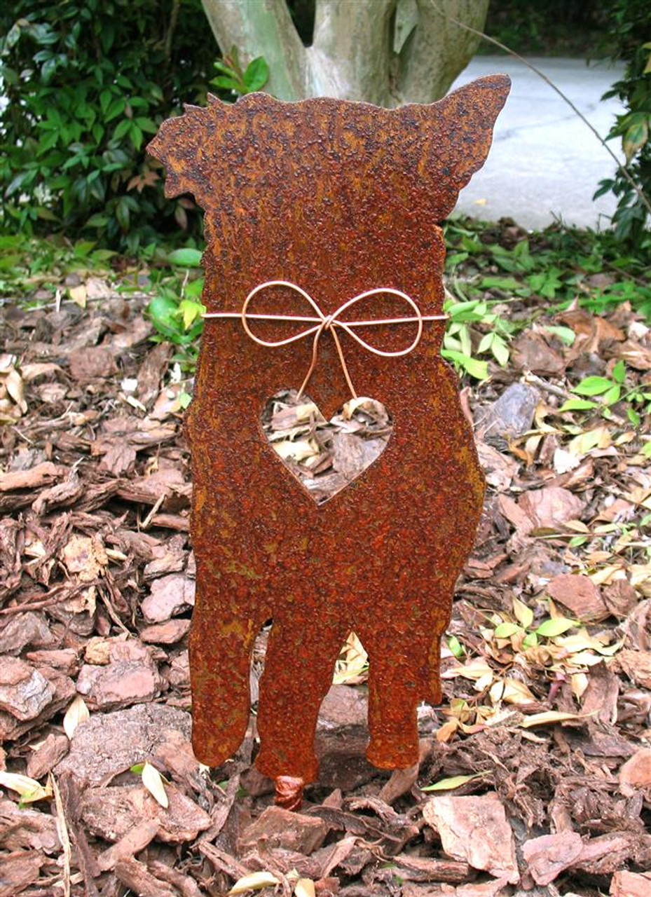 Australian Shepherd Dog Metal Garden Stake - Metal Yard Art - Metal Garden Art - Pet Memorial