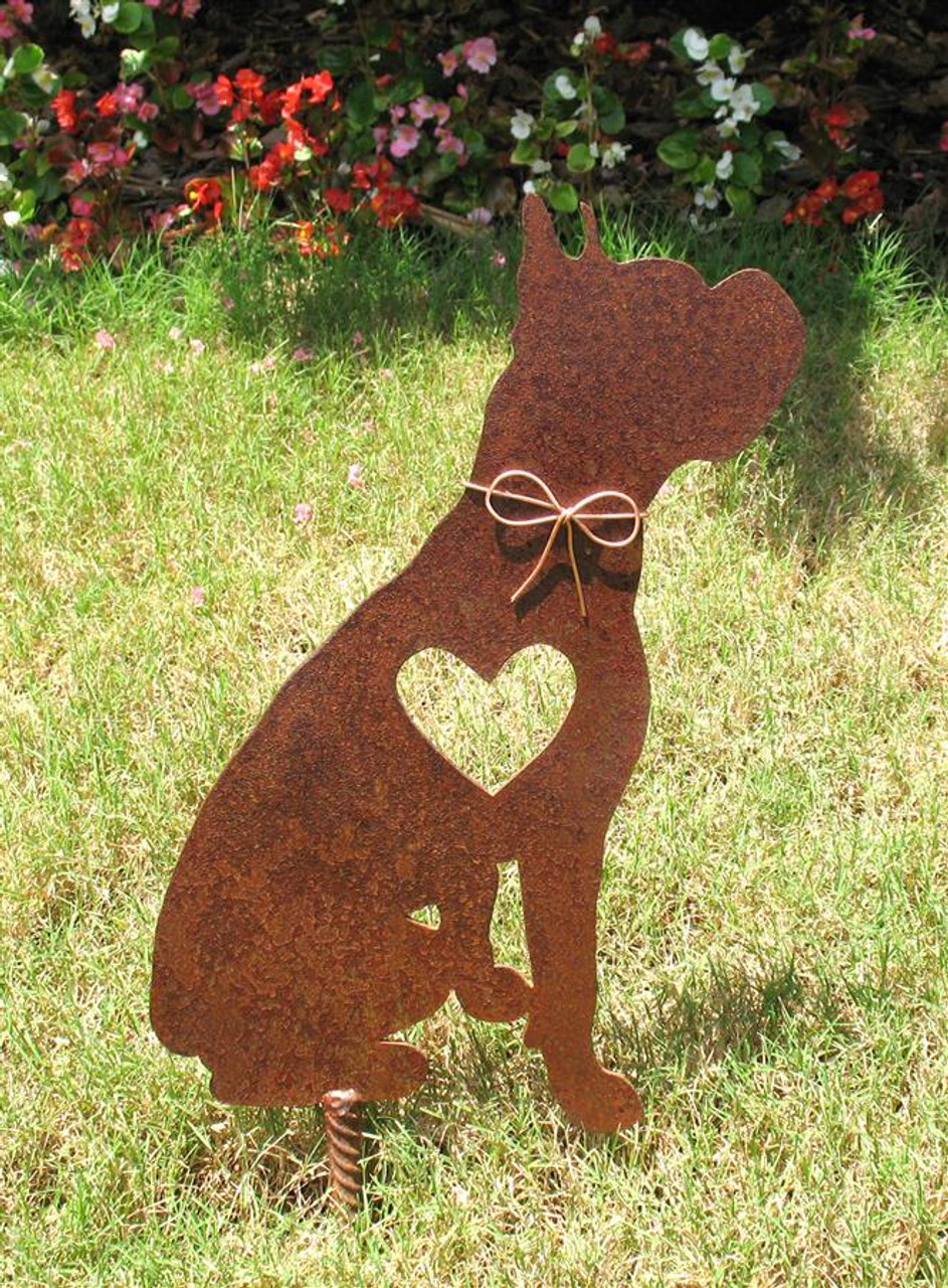 Boxer dog pet memorial metal garden stake 2