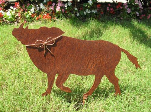 Boar Metal Garden Stake - Metal Yard Art - Metal Garden Art - Rustic - Rusty