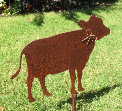 Cow Metal Garden Stake - Metal Yard Art - Metal Garden Art - Rustic - Rusty