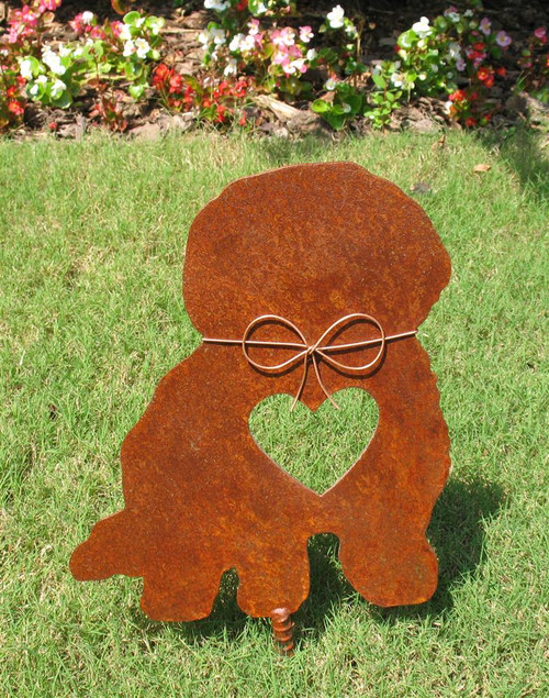 Bichon Frise Dog Metal Garden Stake - Metal Yard Art - Metal Garden Art - Pet Memorial - Design 2