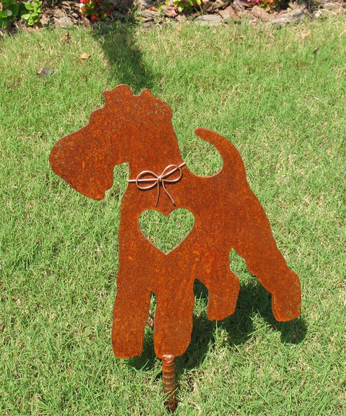 Wire Fox Terrier Dog Metal Garden Stake - Metal Yard Art - Metal Garden Art - Pet Memorial
