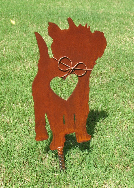 Cairn Terrier Dog Metal Garden Stake - Metal Yard Art - Metal Garden Art - Pet Memorial