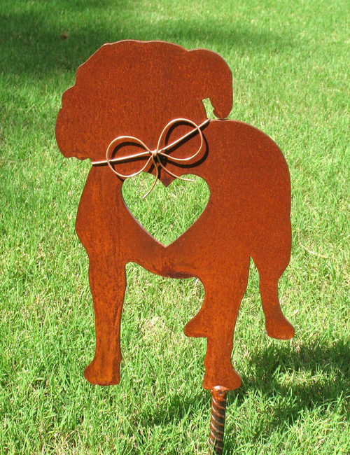 American Bulldog Dog Metal Garden Stake - Metal Yard Art - Metal Garden Art - Pet Memorial