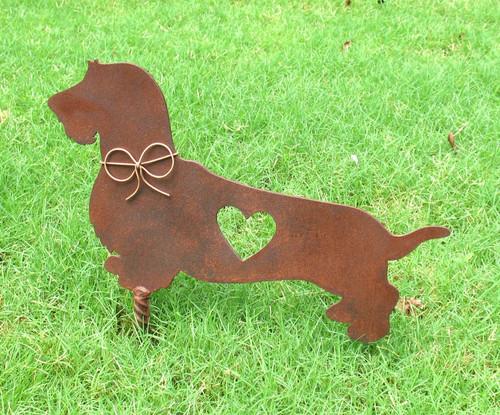 Wire Hair Dachshund Dog Metal Garden Stake - Metal Yard Art - Metal Garden Art - Pet Memorial