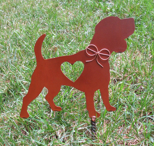 Beagle Dog Metal Garden Stake - Metal Yard Art - Metal Garden Art - Pet Memorial - Design 2
