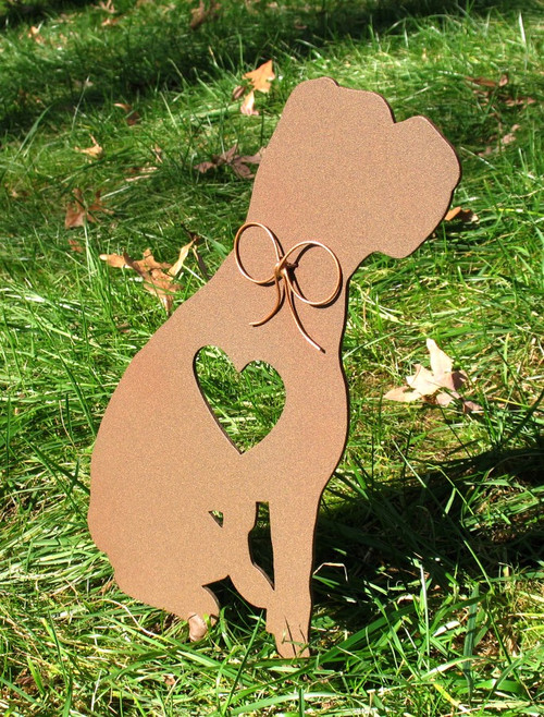 Painted Boxer Dog Metal Garden Stake - Metal Yard Art - Metal Garden Art - Pet Memorial