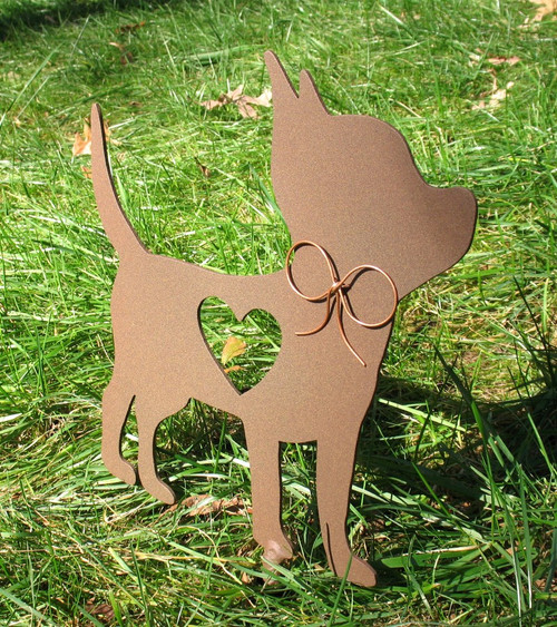 Painted Chihuahua Dog Metal Garden Stake - Metal Yard Art - Metal Garden Art - Pet Memorial - 2