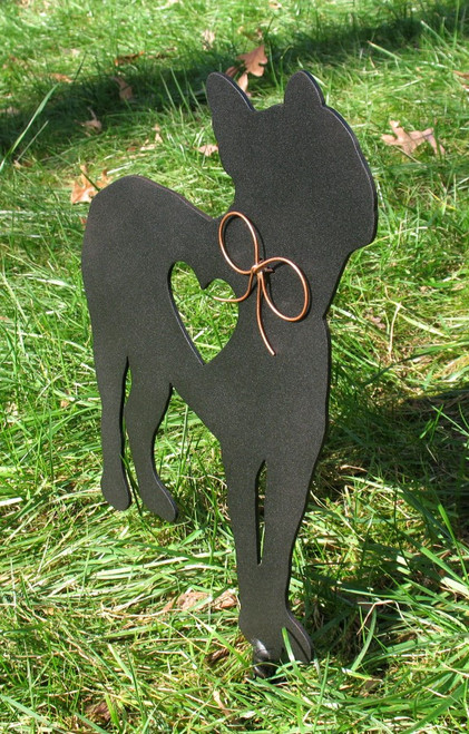 Painted Boston Terrier Dog Metal Garden Stake - Metal Yard Art - Metal Garden Art - Pet Memorial - 1