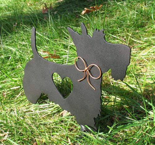 Painted Scottish Terrier Dog Metal Garden Stake - Metal Yard Art - Metal Garden Art - Pet Memorial - 1