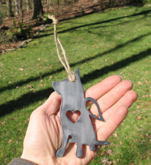 Australian Cattle Dog Ornament 1 Pet Memorial W/ Angel Wings - Pet Loss Dog Sympathy Remembrance Gift - Metal Dog Christmas Ornament