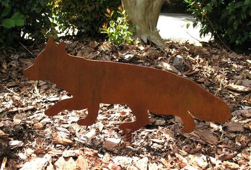 Red Fox Metal Garden Stake - Metal Yard Art - Metal Garden Art - Rusty