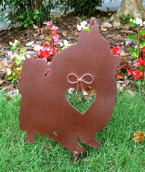 Pomeranian Dog Metal Garden Stake - Metal Yard Art - Metal Garden Art - Pet Memorial