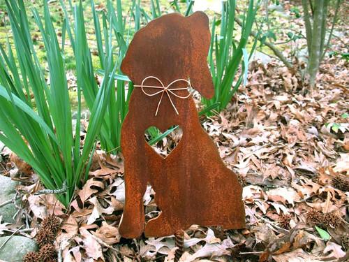 Beagle Dog Metal Garden Stake - Metal Yard Art - Metal Garden Art - Pet Memorial