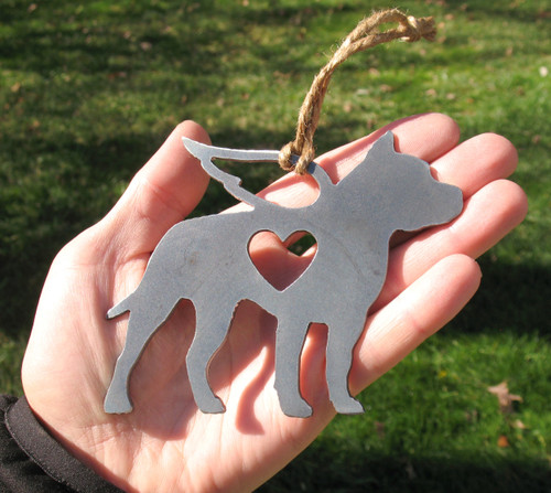 American Staffordshire Terrier Pet Loss Gift Ornament Angel - Pet Memorial - Dog Sympathy Remembrance Gift - Metal Dog Christmas Ornament