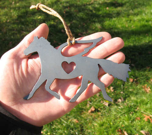 Horse 2 Pet Loss Gift Ornament Angel - Pet Memorial  - Pet Loss Sympathy Remembrance Gift - Metal Horse Christmas Ornament