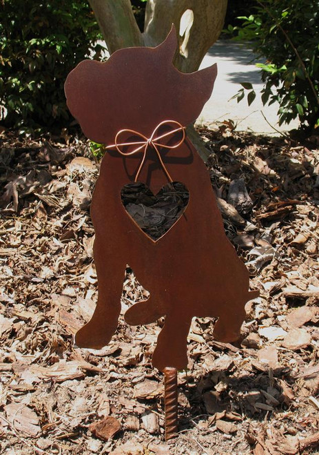 Pit Bull Dog Metal Garden Stake - Metal Yard Art - Metal Garden Art - Pet Memorial