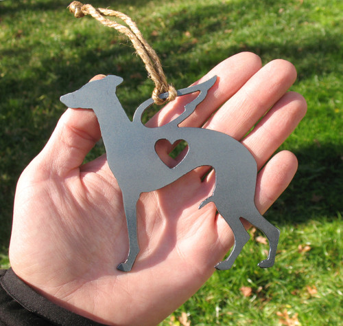 Whippet Pet Loss Gift Ornament Angel - Pet Memorial - Dog Sympathy Remembrance Gift - Metal Dog Christmas Ornament