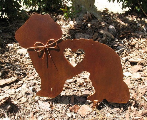 Maltese Dog Metal Garden Stake - Metal Yard Art - Metal Garden Art - Pet Memorial