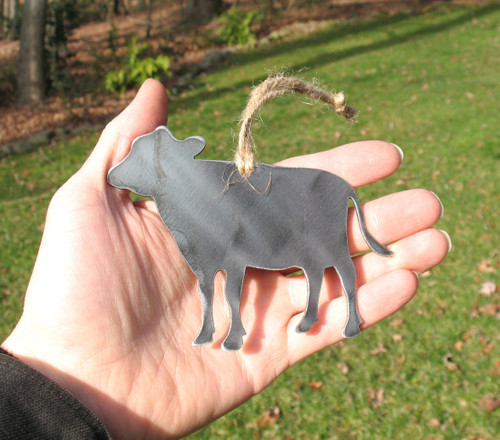 Cow Ornament - Rustic Raw Steel Easter Basket Gift for Her Him - Metal Animal Lover Gift - Cow Gift