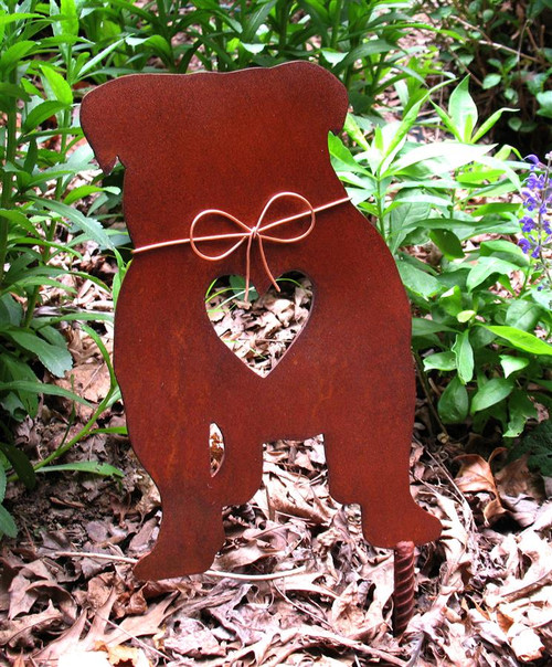 English Bulldog Dog Metal Garden Stake - Metal Yard Art - Metal Garden Art - Pet Memorial