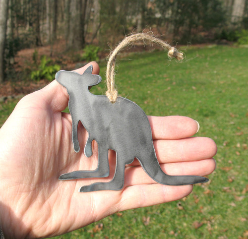 Kangaroo Ornament - Rustic Raw Steel Easter Basket Gift for Her Him - Metal Animal Lover Gift - Kangaroo Gift
