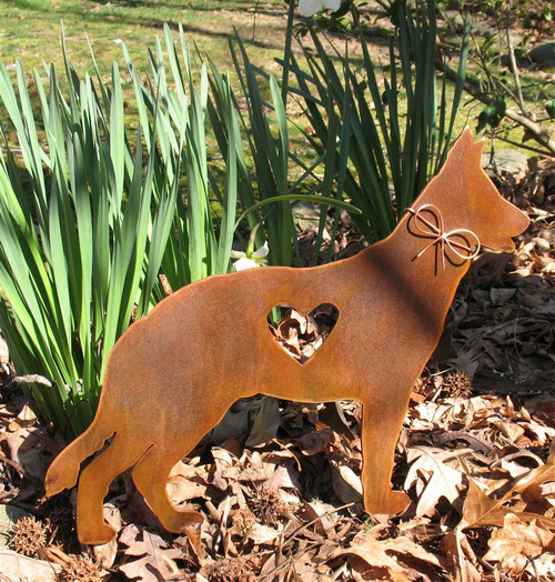 German Shepherd Dog Metal Garden Stake - Metal Yard Art - Metal Garden Art - Pet Memorial