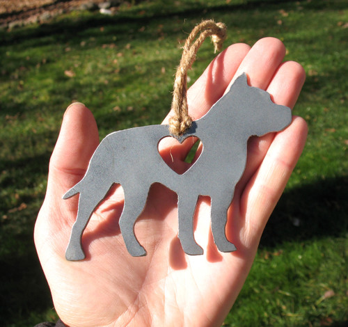 American Staffordshire Terrier Pet Loss Gift Ornament - Pet Memorial - Dog Sympathy Remembrance Gift - Metal Dog Christmas Ornament