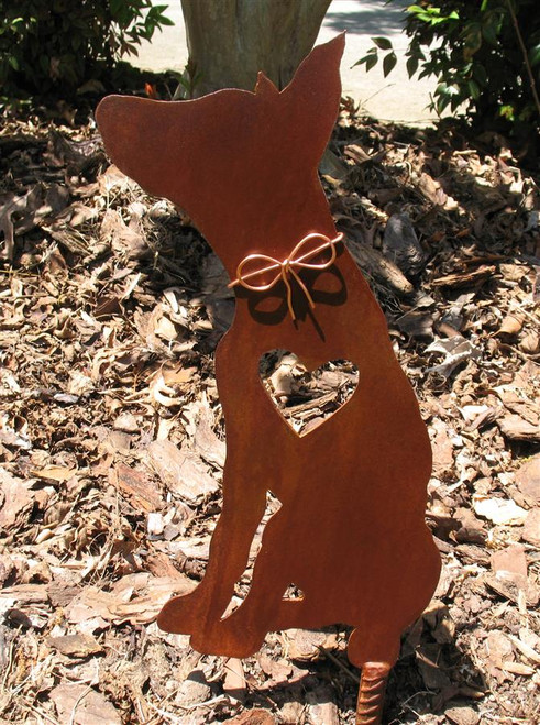 Doberman Dog Metal Garden Stake - Metal Yard Art - Metal Garden Art - Pet Memorial