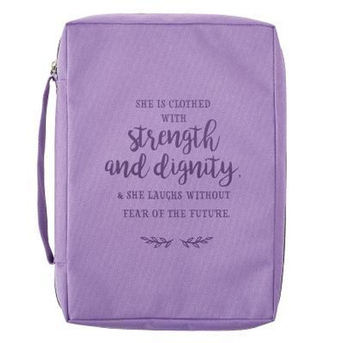 Strength and Dignity Lavender Bible Cover (Medium) <br><b>Weight:</b> 0.25lbs<br><b>Size:</b> 11.00h x 7.90w x 2.00d<br><b>ISBN:</b> 1220000131651