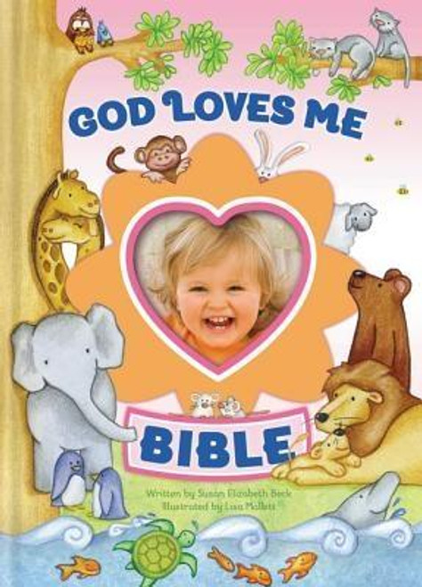 """<p>The <em>God Loves Me Bible</em> is filled with simple, action-filled stories about the lives of more than fifty favorite Bible characters, including Noah, Moses, Jesus, and the disciples. Each story emphasizes the overriding theme of the Bible: God loves his world, his people, and """"me """"</p><p>Slip your child's photo into the picture frame on the cover as a constant reminder of God's love for her.</p><p> </p><br><br><b>Author:</b> Susan Elizabeth Beck<br><b>Publisher:</b> Zonderkidz<br><b>Published:</b> 08/25/2013<br><b>Pages:</b> 128<br><b>Binding Type:</b> Hardcover<br><b>Weight:</b> 0.55lbs<br><b>Size:</b> 6.80h x 4.80w x 0.60d<br><b>ISBN:</b> 9780310733980"""