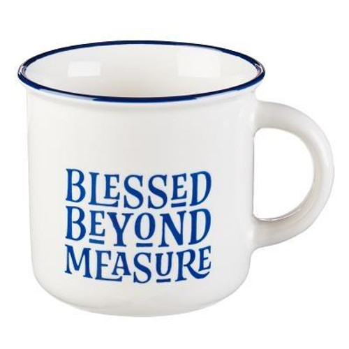 Pour your favorite hot beverage into the Blessed Beyond Measure Coffee Mug, and reflect on your blessings. The inspirational coffee mug will remind you of all the good things in your life. It also makes an encouraging gift. Whether you purchase this inspirational gift for yourself, your mother-in-law, or your husband, the Blessed Beyond Measure Coffee Mug will fill anyone who receives it with the reassuring reminder that blessings come into their life every day, sometimes when they dont even realize it. Take the coffee mug to work, or keep it by your side as you read your favorite book.  <br><b>Tested for Lead <br><b> Microwave and Dishwasher Safe <br><b>Packaged in a Gift Box <br><b> Ceramic Mug <br><b>Weight:</b> 0.66lbs <br><b>Capacity:</b>  13 Fl Oz  Size: 4.10h x 4.70w x 3.90d <br><b> ISBN: 0843310100226