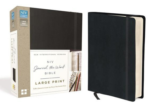 <p>The <em>NIV Journal the Word<em><sup>TM</sup></em> Bible, Large Print</em> allows you to creatively express yourself every day with plenty of room for notes or verse art journaling next to your treasured verses. With unique and sophisticated covers, this single-column large print edition features thick cream-colored paper with lightly ruled lines in the extra-wide margins, perfect to reflect on God's Word and enhance your study.</p><p>Excellent for a gift or for personal use, it can also be a cherished heirloom to pass on to future generations with your personal writings inside </p><p>Features of this treasured Bible include: </p><ul> <li>Lined, wide margins for notes, reflections and art</li> <li>Thicker cream paper for enduring note-taking</li> <li>Full text of the most read, most trusted modern-English Bible - the New International Version (NIV)</li> <li>Large print 10-pt font eliminates strain when reading</li> <li>Easy-to-read black-letter text</li> <li>Lays flat in your hand or on your desk</li> <li>Ribbon marker</li> </ul><br><br><b>Author:</b> Zondervan<br><b>Publisher:</b> Zondervan<br><b>Published:</b> 11/15/2016<br><b>Pages:</b> 1952<br><b>Binding Type:</b> Hardcover<br><b>Weight:</b> 3.20lbs<br><b>Size:</b> 8.30h x 6.50w x 2.20d<br><b>ISBN:</b> 9780310445586<br><b>Large Print</b>