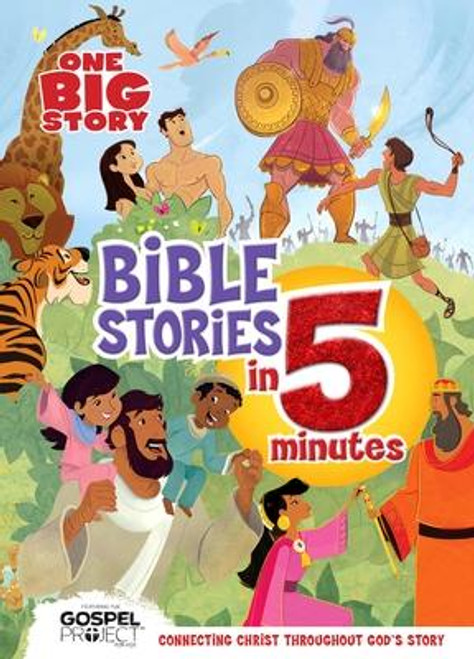 Give kids the big picture of God's story with <i>One Big Story Bible Stories</i> <i>in 5 Minutes</i> comprised of 12 different 5-minute stories, perfect for before bed reading. Help shape your child's spiritual growth in an engaging <i>One Big Story</i> book that features four-color illustrations, as well as pop-up imaging and story narration with a free augmented reality app. <p></p><i>One Big Story </i>is a series designed to grow with families and strengthen relationships in Christ through Bible-centered, multi-platform products that engage readers of all ages. <p></p><i>This B&amp;</i><i>H Kids book includes a Parent Connection, an easy tool to help moms and dads (or anyone else who loves kids) discuss the book's message with their child. We're all about connecting parents and kids to each other and to God's Word. </i><br><br><b>Author:</b> B&amp;h Kids Editorial<br><b>Publisher:</b> B&amp;H Publishing Group<br><b>Published:</b> 11/15/2018<br><b>Pages:</b> 192<br><b>Binding Type:</b> Hardcover<br><b>Weight:</b> 2.00lbs<br><b>Size:</b> 10.60h x 8.00w x 1.10d<br><b>ISBN:</b> 9781535947961