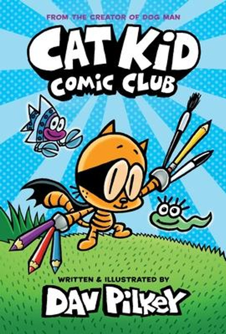 <b>A pioneering new graphic novel series by Dav Pilkey, the author and illustrator of the internationally bestselling Dog Man and Captain Underpants series.</b><br><p>In <i>Cat Kid Comic Club</i>, Li'l Petey, Flippy, and Molly introduce twenty-one rambunctious, funny, and talented baby frogs to the art of comic making. As the story unwinds with mishaps and hilarity, readers get to see the progress, mistakes, and improvements that come with practice and persistence.</p><br><p></p><br><p><i>Squid Kid and Katydid</i>, <i>Baby Frog Squad</i>, <i>Monster Cheese Sandwich</i>, and <i>Birds Flowers Trees: A Haiku Photo Comic</i> are just some of the mini-comics that are included as stories-within-the-story, each done in a different style, utilizing humor and drama, prose and poetry, illustrated in different media including acrylics, pastels, colored pencils, felt-tip markers, clay, hand-made cardboard sculptures, photographs, pipe cleaners, construction paper collages, and cookies.</p><br><p></p><br><p>Readers of all ages will be inspired to dream up their own stories and unleash their own creativity as they dive into this new graphic novel adventure from Dav Pilkey and his heartfelt, humorous, and amazing cast of characters in the Cat Kid Comic Club.</p><br><br><b>Author:</b> Dav Pilkey<br><b>Publisher:</b> Graphix<br><b>Published:</b> 12/01/2020<br><b>Pages:</b> 176<br><b>Binding Type:</b> Hardcover<br><b>Weight:</b> 1.00lbs<br><b>Size:</b> 8.20h x 5.70w x 0.70d<br><b>ISBN:</b> 9781338712766