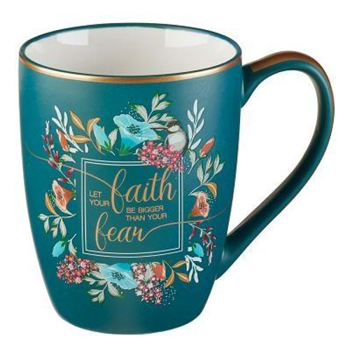 Enjoy a hot cup of coffee or tea with the elegant Let Your Faith Be Bigger Coffee Mug. Featuring an encouraging phrase, this blue mug challenges us to let our faith be bigger than our fears.  This mug makes the perfect gift for someone who may need a little encouragement, or someone celebrating the brave steps they are taking. <br><b>Tested for Lead <br><b> Microwave and Dishwasher Safe <br><b>Packaged in a Gift Box <br><b> Ceramic Mug <br><b>Weight:</b> 0.70lbs <br><b>Capacity:</b>  12 Fl Oz  Size: 4.40h x 4.70w x 3.60d <br><b>ISBN:</b> 0843310100363